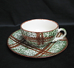 Blue Ridge Brown Plaid Cup And Saucer
