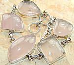 Wide Rose Quartz Bracelet Chunky Sterling Silver