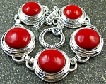 Red Coral Bracelet: Genuine Gemstone Sterling Silver Jewelry