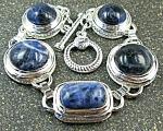 Wide Blue Sodalite Bracelet Silver Jewelry