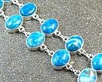 Wide Blue Agate Silver Bracelet Silver