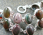 Wide Jasper Bracelet Gemstone Silver Jewelry