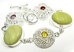 Jade Amethyst Citrine Garnet Bracelet Sterling Silver