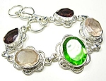 Amethyst Green & Quartz Bracelet Sterling Silver
