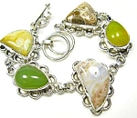 Multi Stone Bracelet Sterling Silver Ocean Jasper, Jade, Agate