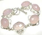 Pink Chalcedony Bracelet Sterling Silver Gemstone Jewelry