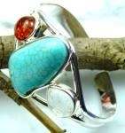 Wide Amber, Quartz Turquoise Sterling Silver Cuff Bracelet