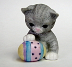 Cat And Easter Egg Figurine