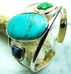Wide Turquoise Bracelet Bangle Cuff Sterling Silver