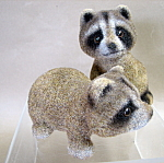 Josef Originals Flocked Raccoons