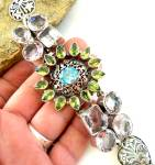 Huge Multi-gemstone Bracelet Peridot Blue Topaz Amethyst Sterling