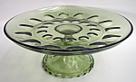 Green Glass Footed Plate