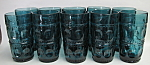 Indiana Blue Thumbprint Glass Set