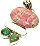 Rhodonite Malachite Mother Of Pearl Sterling Silver Pendant