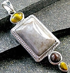 Agate & Tigers Eye Pendant : Sterling Silver Gemstone Jewelry