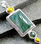 Moss Agate Pendant Sterling Silver Prosperity And New Beginnings