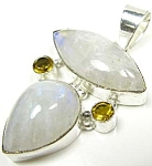 Big Moonstone & Citrine Pendant Sterling Silver