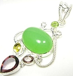 Big Pendant Multi Gem Chalcedony, Quartz Sterling Silver