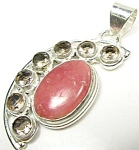 Rhodochrosite And Quartz Sterling Silver Pendant
