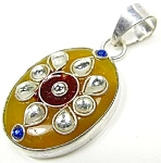 Fancy Agate Pendant Artisan Gemstone Sterling Silver Jewelry