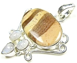 Sterling Silver Moonstone & Jasper Pendant Multi-gemstone