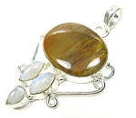 Jasper, Moonstone Pendant:sterling Silver Gemstone Jewelry