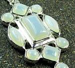 Large Opalite Silver Pendant