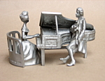 Pewter Piano Player And Man Figurine