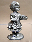 Pewter Girl Cooking Figurine