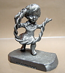 Pewter Girl Jumping Rope Figurine