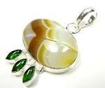 Banded Cream Brown Agate Peridot Pendant Silver Gemstone Jewelry