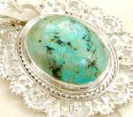 Chrysocolla Pendant Necklace Gemstone Sterling Silver Jewelry