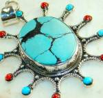Large Oval Snakeskin Turquoise, Coral Pendant: Sterling Silver