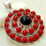 Round Black Onyx & Red Coral Sterling Silver Gemstone Pendant