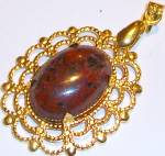 Red & Black Jasper Oval Pendant Gold Plated Gemstone Jewelry