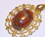 Red Jasper Oval Pendant: Gold Plated Genuine Gemstone Jewelry