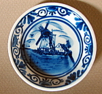 Miniature Blue And Whtie Windmill And House Plate