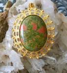 Big Unakite Gem Stone Oval Yellow Gold Plated Pendant