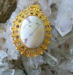 Large Eagle Eye Agate Pendant Elegant Oval Gold Plated Jewelry