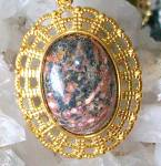 Big Leopard Skin Jasper Pendant Elegant Oval Gold Plated Jewelry