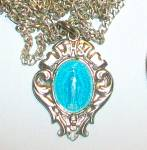 Vintage Blue Enamel Miraculous Medal Necklace Virgin Mary