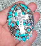 Huge Turquoise Enamel Pendant Rhinestone Cross Costume Jewelry