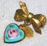 St. Christopher Miraculous Medal Pink Rose Enamel Heart Pin