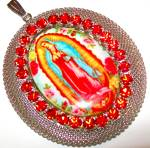 Huge Our Lady Of Guadalupe Pendant Porcelain Cameo Red Rhinestone