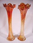 Pair Of Carnival Glass Vases