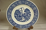 German Village Scene Flow Blue Plate