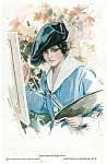 A/s Postcards: Harrison Fisher Autumns Beauty Lady Painting