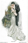 Artist Signed Postcard Harrison Fisher The Kiss Romance
