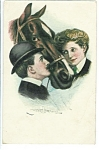 Antique Postcard Clarence Underwood Victorian Lady Man Horse