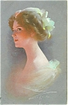 Artist Signed Postcards Knoefel Victorian Glamour Lady In Green